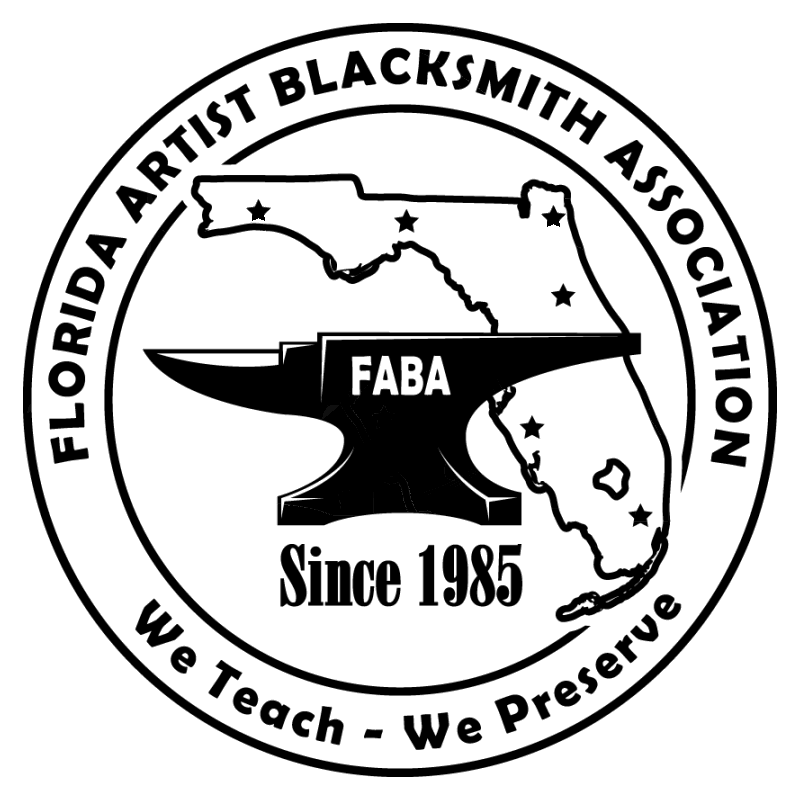 FABA LOGO. We teach, We Preserve. Since 1985. Anvil over outlined state of Florida with stars